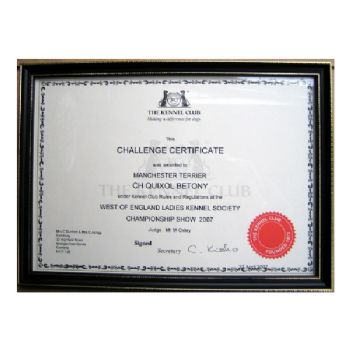 Kennel Club Certificate Frame